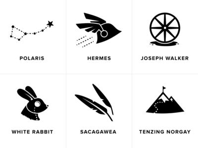 Conference room illustrations tenzing-norgay sacagawea white-rabbit joseph-walker hermes polaris conference-room logo icon