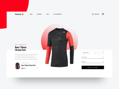 Reebok shop concept - Product Details reebok cta moneyshot fitgear ecommerce shop