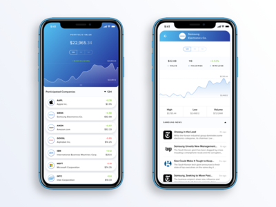 Fintech App Concept for stock prices iphone tickers white price data chart app fintech new app blue news stocks portfolio