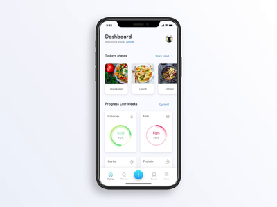 Meal Planner App Interactions fitness recipes meals interaction motion animation ux ui