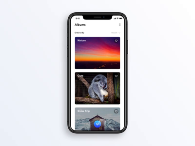 Image Gallery Concept iphone mobile cards protopie interaction gallery image app concept motion animation ux ui clean cute