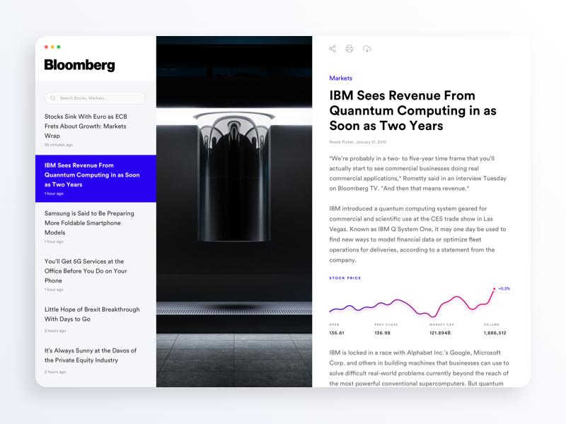 Bloomberg News Desktop App by Alberto de Miguel for Delta Studio on