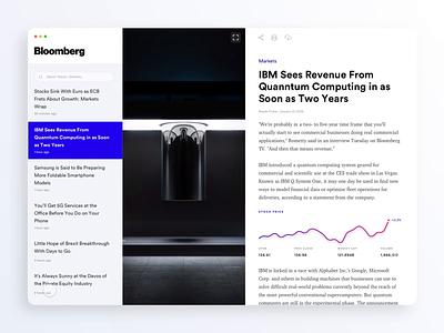 Bloomberg News Desktop App protopie ui stocks post news ibm desktop concept charts interaction motion bloomberg blog article app