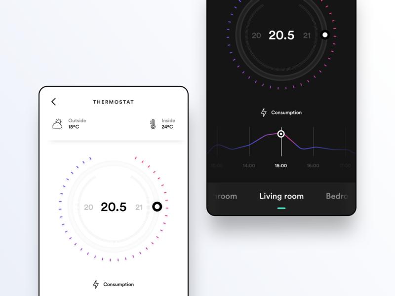 Thermostat concept darkmode white black mobile wheel chart consumptio ui thermostat
