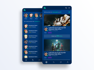 Gaming contract app influencers ui mobile app gaming