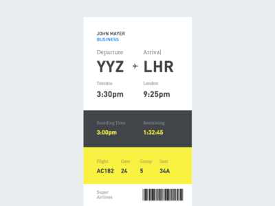 Boarding Pass (Concept) card din flat typography transit ticket airplane flight airline pass boarding mobile