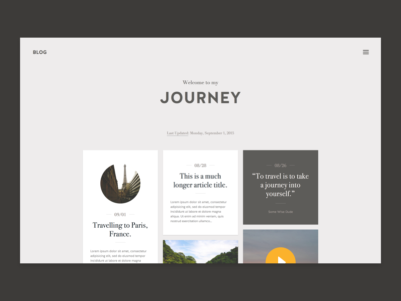Journey - Blog Theme typography template post card tile ui flat travel tumblr theme blog journey