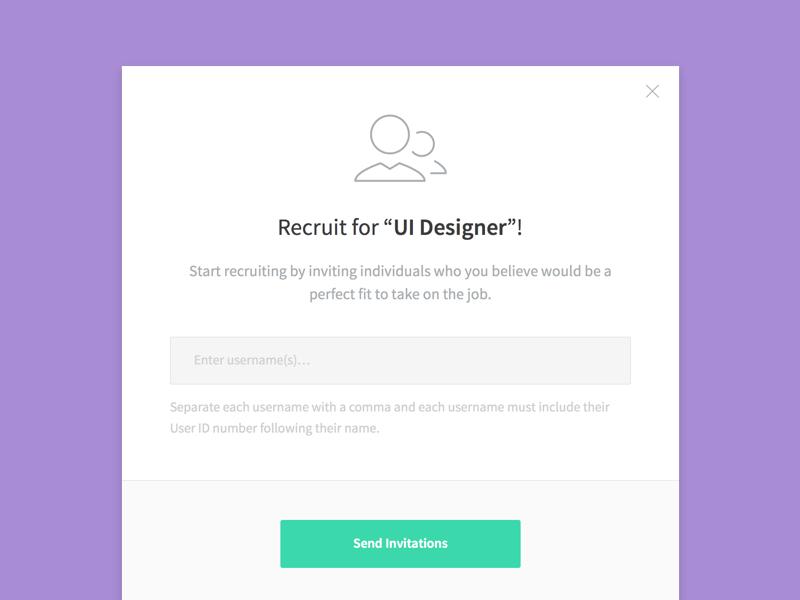 Kicklow - Job Invite flat modal ui notify email send recruitment recruit invitation invite job kicklow