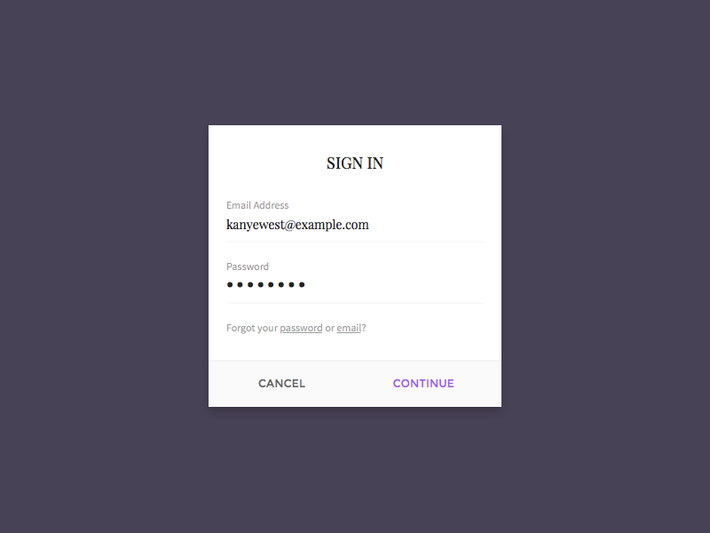 Simple Sign In minimal typography sign in field input simple flat ux ui mobile modal login