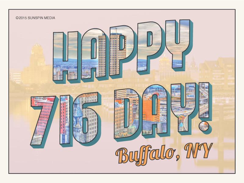 716 Day travel retro design vintage postcard new york 716 buffalo