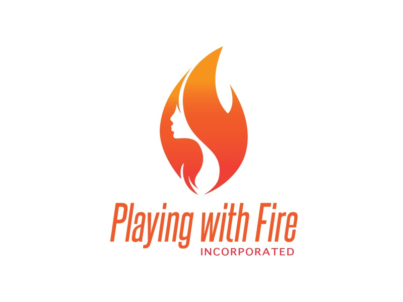 Playing With Fire design flames flame feminine woman fire logo