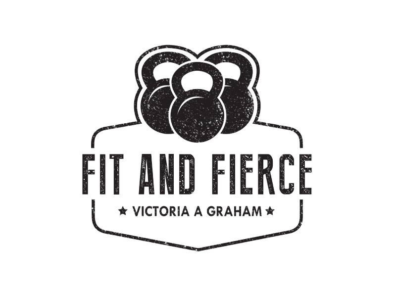 Fit & Fierce design logo gym workout kettlebell fierce women fitness