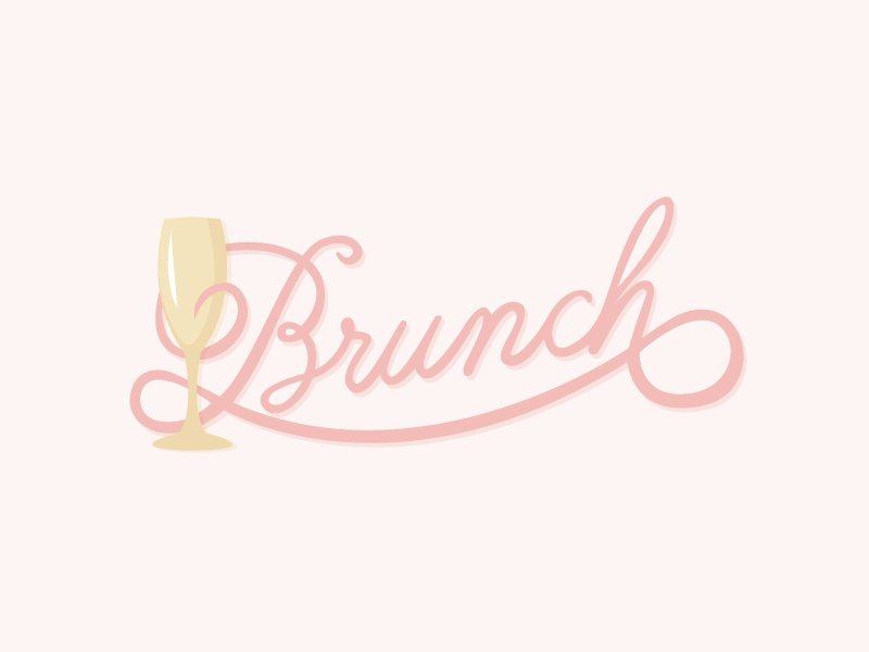 Brunch champange sunday mimosa lunch breakfast hand lettered typography type brunch