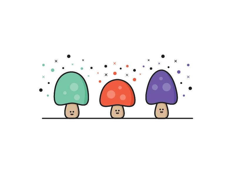 Mushroom Trio cartoon characters illustration edible food mushrooms mushroom