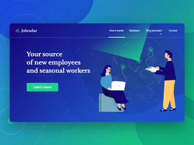 Jobradar landing page illustration landing page web characters indigo map radar blue webdesign gradient illustration jobradar