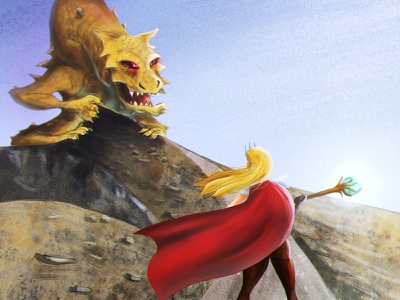 Attack On Dumbier mountains slovakia dumbier woman illustration wizard sorcerer ginger dragon painting character art illustration concept art