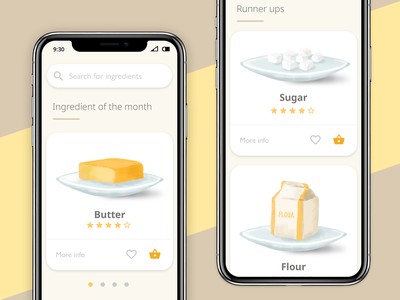 Food app illustrations ui design iphone flour sugar butter food food app branding landing page app webdesign ui illustration