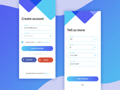 Daily UI challenge - sign up screen fitness app dailyui 001 dailyui iphone mobile app registration form signup form sign up daily 100 challenge design gradient app vector ui daily challange daily 100