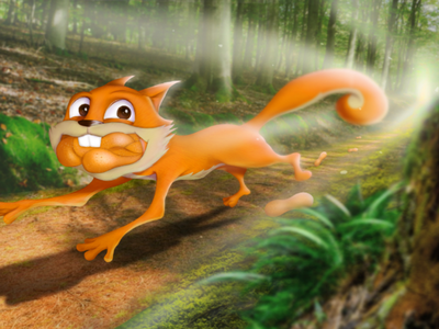 Sunday jog in the forest forest composition squirel art direction concept art illustration character design