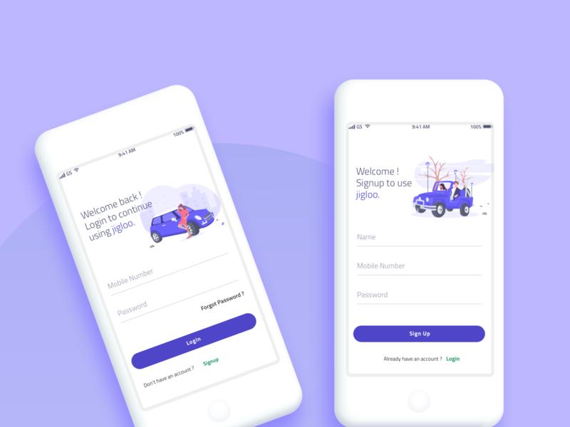 Login Screens for Parking Application