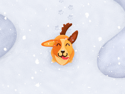 Happy dog Illustration puppy popart studio paws drawing up snowflake brown orange sweet cute fun snow happy dok illustration