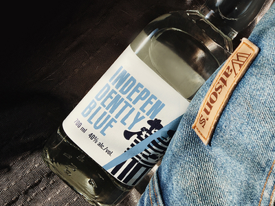 Independently Blue Label Design branding logo alternative label unigue design spirit musician rakia jazz blue