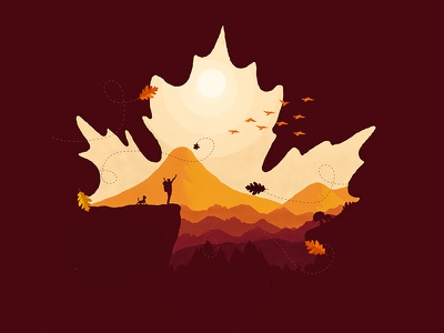 Smashing Magazine Ilustration october 2018 hiking smashing magazine leaves illustration design dog birds mountain orange leaf illustration autumn wallpaper