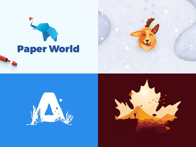 My Top 4 Shots from 2018 snow animal simple awesome logo leaf paw butterfly top 4 2018 negative sea blue nature drawing cute elephant dog illustration top4shots