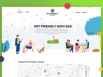 Pet Friendly website flat ui modern caffe people cat dog pet simple cute awesome illustration website