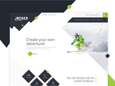 Jacker ski website ui clean ui website design simple clean interface elegant simple landing landing page landingpage shop adventure gray green gear equipment ski website webdesign