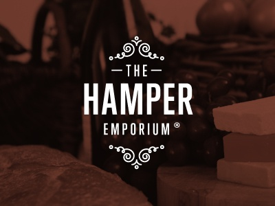 The Hamper Emporium - Logo Signature logo mark signature hamper basket gift picnic food brand lettering type brown warm motif ornament condensed gothic