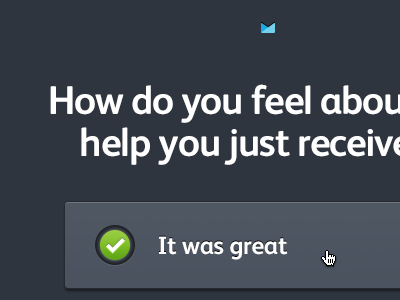 Support Feedback Rating Form form centred dark copy buttons select toggle field rating feedback tick campaignmonitor