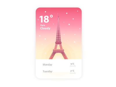 Loving city,Paris tower eiffel red colour night paris city app ui
