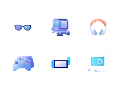 Icons glasses music game blue icon