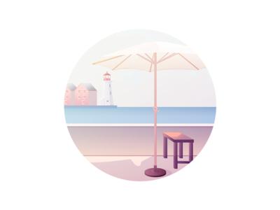 Seaside lighthouse sunny sea