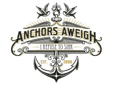 Anchors Aweigh Productions logo vintage logo anchor