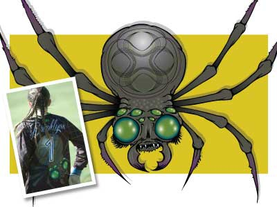 """Brooklynn"" Keeper Jersey for Vivace Custom Apparel, LLC sublimation jersey soccer spider illustration"