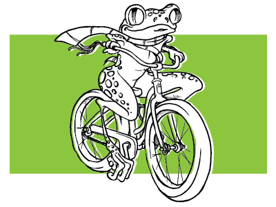 Froggie rider bicycle treefrog