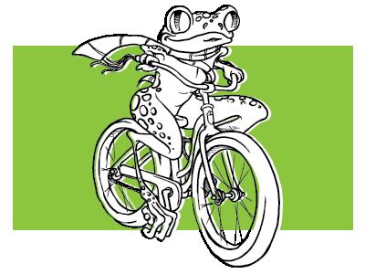 Froggie rider bicycle treefrog