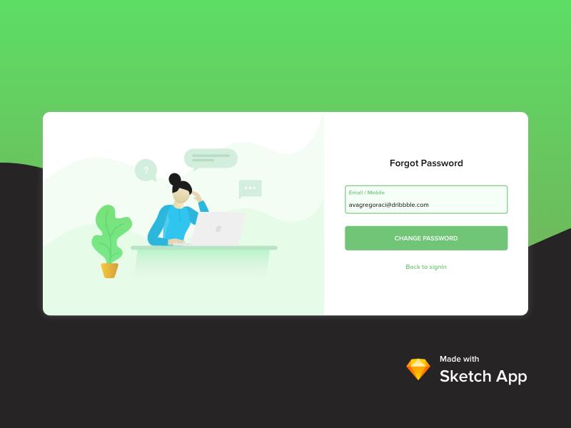 Forgot Password Concept design proxima nova ui laptop pot plant email login password forgot illstration
