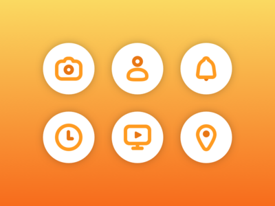 Icons icons location tv play time notification profile camera 2d