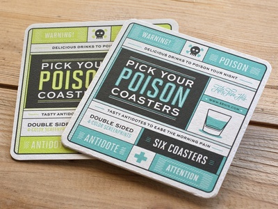 Pick Your Poison Coasters coasters drinks screenprint type typography poison antidote icons warning liquor shots mixes