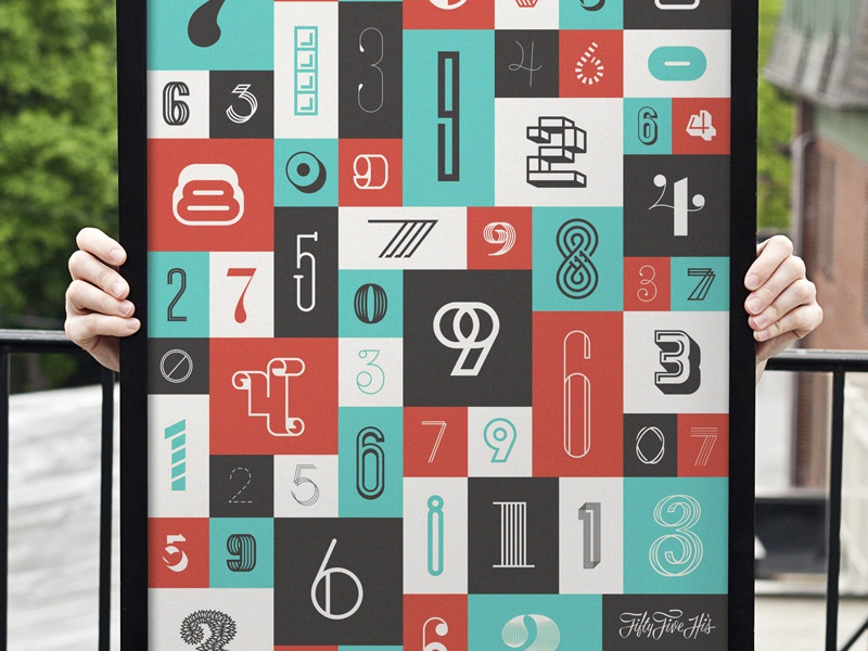 The Numbers Poster grid number type typography the numbers spitz collab screenprint print limited edition custom boxes