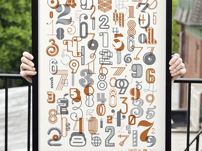 Numbers 2 Detail type typography numbers digits screenprint metallic limited edition 7 tetris