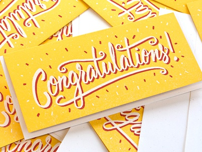 Congratulations! type typography congrats screenprint hand done swirly script