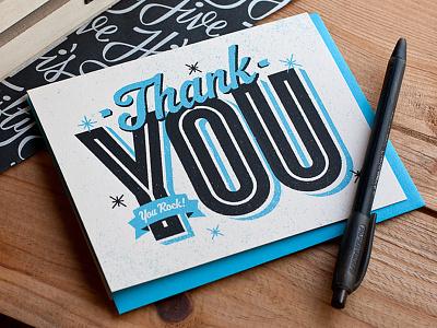 You Rock! thank you print card typography cyclone mvb fonts blue screenprint silkscreen