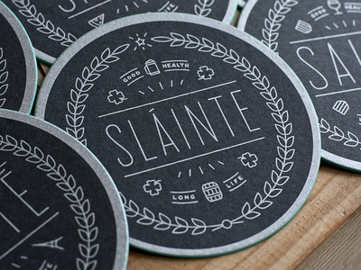 Sláinte slainte cheers coaster screenprint edge color metallic gaelic irish clover good health coffee