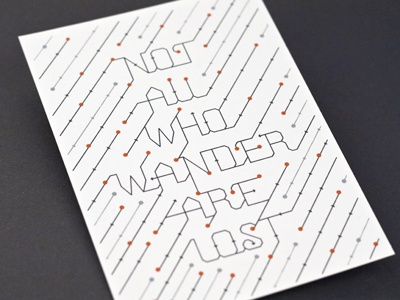 Not All Who Wander not all who wander quote type typography print screen print silkscreen card poster dots circles thin minimal grey 3 lost 55 his ross san serif