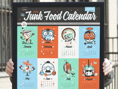 2014 Junk Food Calendar junk food calendar food poster limited edition screen print characters vector beer candy intricate