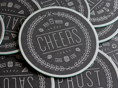 Coaster Clearance cheers coaster drink paper screenprint edge color round diecut type typography badge